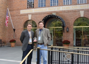 Jim Hughes and Don Casper with Award outside the National Baseball Hall of Fame in Cooperstown